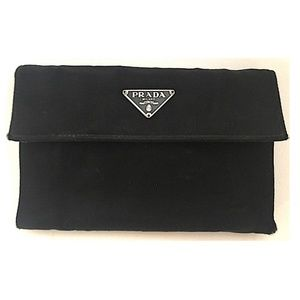 Prada Black Saffiano Canvas Trifold Wallet